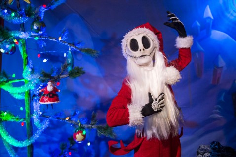 "The Pumpkin King himself, Jack Skellington, joins the holiday celebration at Walt Disney World Resort during MickeyÕs Very Merry Christmas Party. Dressed as ""Sandy Claws,"" Jack is greeting party guests and bringing Christmastown to Storybook Circus at Magic Kingdom. The special-ticket event takes place on select nights in November and December at Magic Kingdom in Lake Buena Vista, Fla. (David Roark, photographer)"